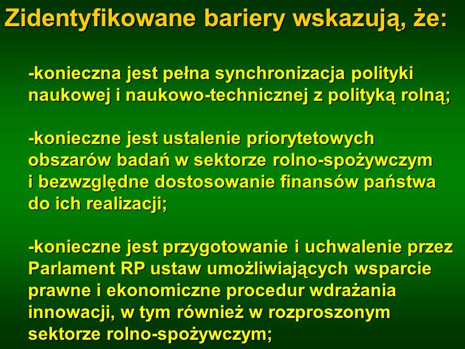 Zidentyfikowane bariery wskazują, że: -konieczna jest pełna synchronizacja polityki naukowej i naukowo-technicznej z polityką rolną; -konieczne jest u