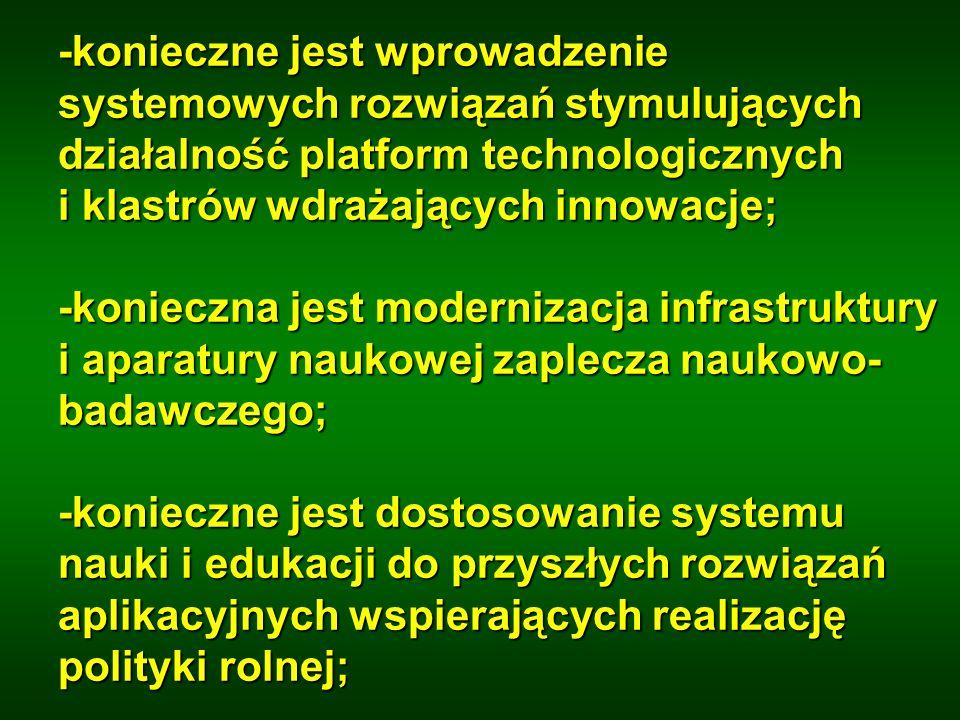-konieczne jest wprowadzenie systemowych rozwiązań stymulujących działalność platform technologicznych i klastrów wdrażających innowacje; -konieczna j