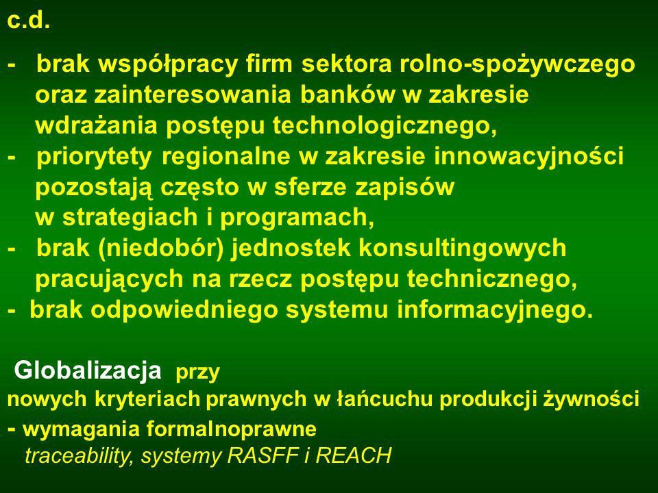 Zidentyfikowane bariery wskazują, że: -konieczna jest pełna synchronizacja polityki naukowej i naukowo-technicznej z polityką rolną; -konieczne jest ustalenie priorytetowych obszarów badań w sektorze rolno-spożywczym i bezwzględne dostosowanie finansów państwa do ich realizacji; -konieczne jest przygotowanie i uchwalenie przez Parlament RP ustaw umożliwiających wsparcie prawne i ekonomiczne procedur wdrażania innowacji, w tym również w rozproszonym sektorze rolno-spożywczym;