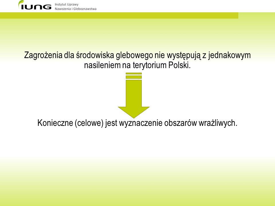 Zagrożenia dla środowiska glebowego nie występują z jednakowym nasileniem na terytorium Polski. Konieczne (celowe) jest wyznaczenie obszarów wrażliwyc
