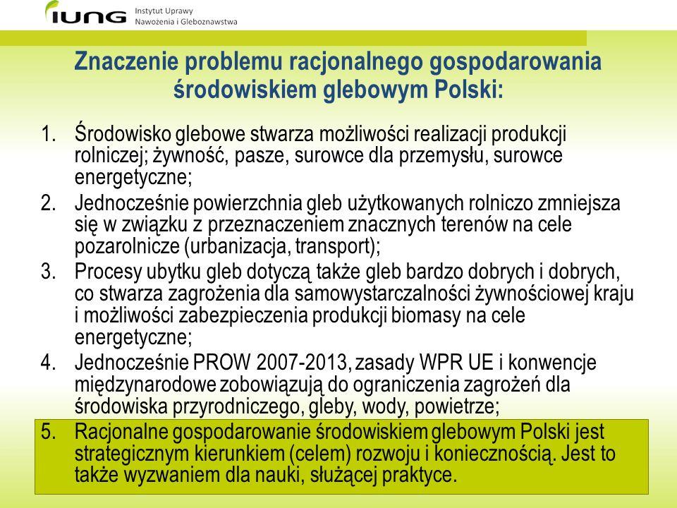 Rola nauki we wspieraniu działań prowadzących do racjonalnego gospodarowania środowiskiem glebowym Jednostki naukowe (instytuty resortowe, instytuty PAN, uczelnie) koncentrują swoją działalność na następujących zagadnieniach: a)charakterystyka ilościowa i jakościowa gleb Polski; b)wskazywanie specyficznych cech środowiska glebowego Polski i specyfiki regionalnej; c)identyfikacja czynników ograniczających wykorzystanie potencjału produkcyjnego gleb Polski; d)modelowanie i prognozowanie przekształceń gruntów rolnych Polski; e)wskazywanie działań zapewniających racjonalne gospodarowanie środowiskiem glebowym; f)wskazywanie zagrożeń dla środowiska glebowego.