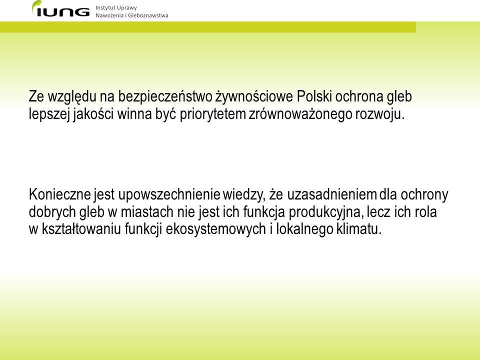 Ze względu na bezpieczeństwo żywnościowe Polski ochrona gleb lepszej jakości winna być priorytetem zrównoważonego rozwoju. Konieczne jest upowszechnie