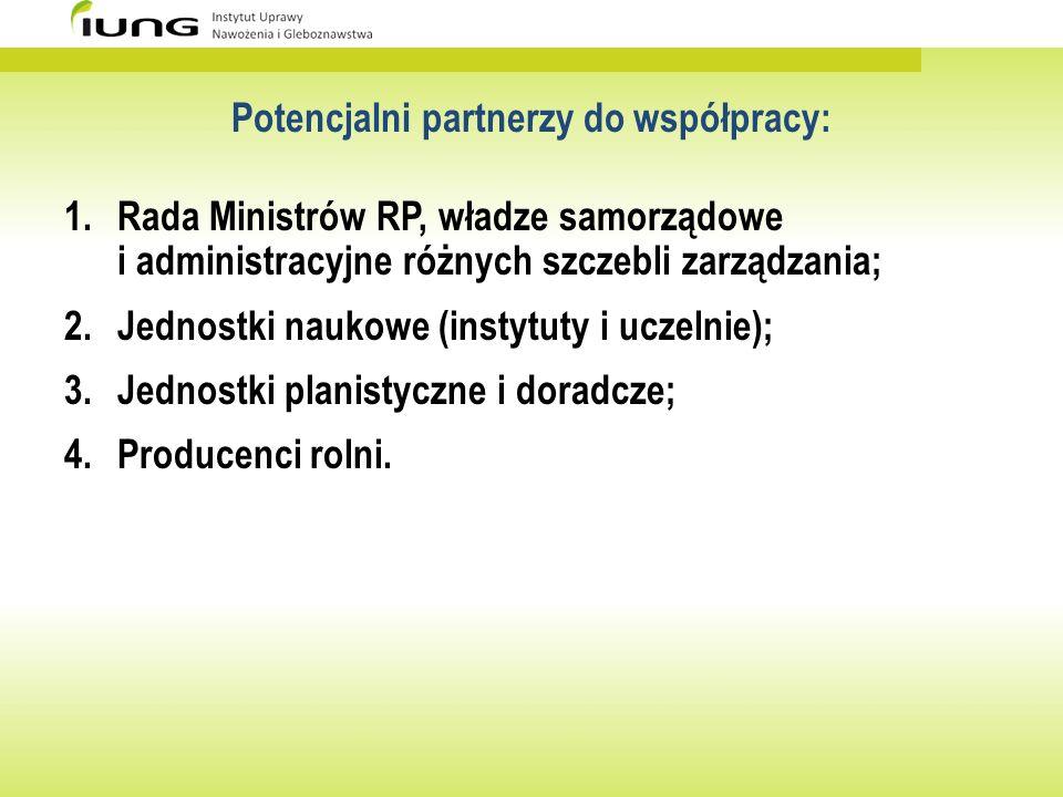Potencjalni partnerzy do współpracy: 1.Rada Ministrów RP, władze samorządowe i administracyjne różnych szczebli zarządzania; 2.Jednostki naukowe (inst