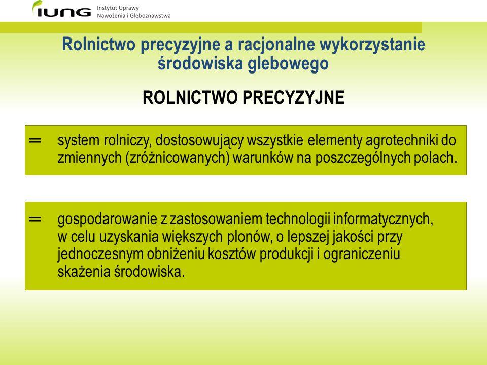 Rolnictwo precyzyjne a racjonalne wykorzystanie środowiska glebowego ROLNICTWO PRECYZYJNE system rolniczy, dostosowujący wszystkie elementy agrotechni
