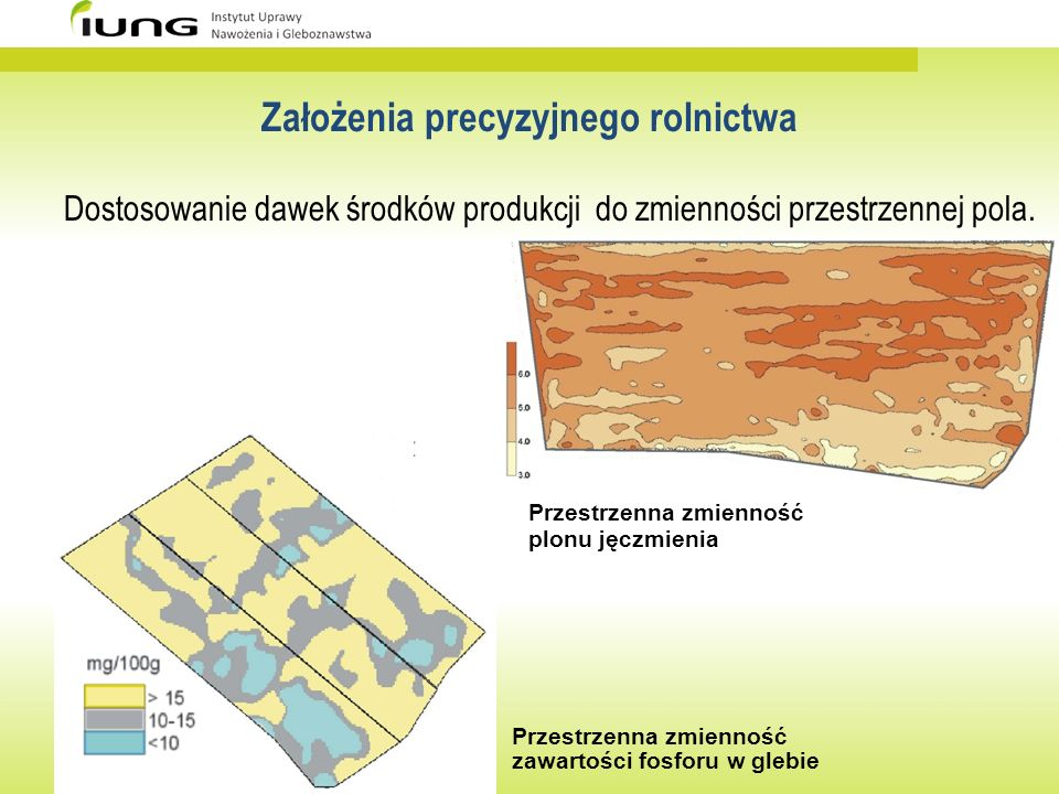 Założenia precyzyjnego rolnictwa Dostosowanie dawek środków produkcji do zmienności przestrzennej pola. Przestrzenna zmienność plonu jęczmienia Przest