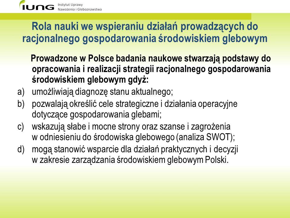 Rola nauki we wspieraniu działań prowadzących do racjonalnego gospodarowania środowiskiem glebowym Prowadzone w Polsce badania naukowe stwarzają podst