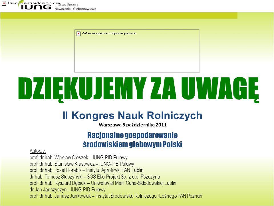 II Kongres Nauk Rolniczych Warszawa 5 października 2011 Racjonalne gospodarowanie środowiskiem glebowym Polski Autorzy: prof. dr hab. Wiesław Oleszek