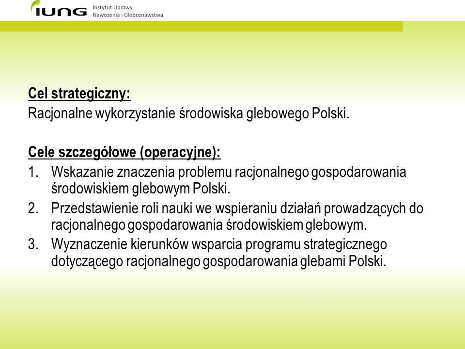 Cel strategiczny: Racjonalne wykorzystanie środowiska glebowego Polski. Cele szczegółowe (operacyjne): 1.Wskazanie znaczenia problemu racjonalnego gos