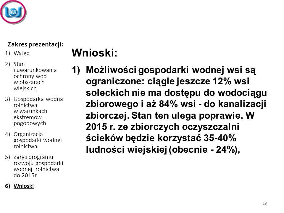 Wnioski: 1)Możliwości gospodarki wodnej wsi są ograniczone: ciągle jeszcze 12% wsi sołeckich nie ma dostępu do wodociągu zbiorowego i aż 84% wsi - do