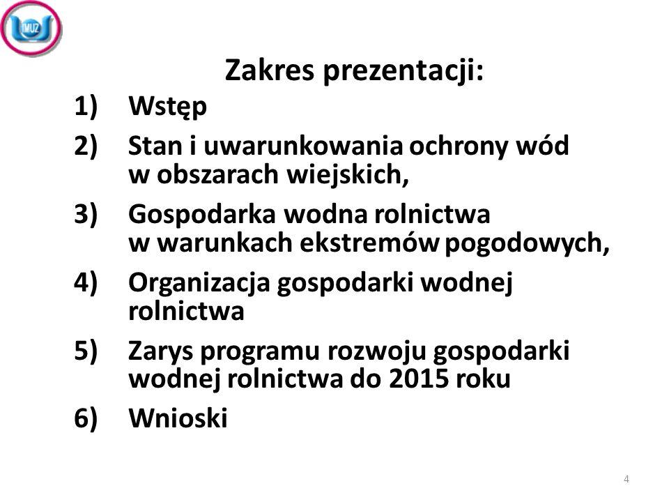Zakres prezentacji: 1)Wstęp 2)Stan i uwarunkowania ochrony wód w obszarach wiejskich 3)Gospodarka wodna rolnictwa w warunkach ekstremów pogodowych 4)Organizacja gospodarki wodnej rolnictwa 5)Zarys programu rozwoju gospodarki wodnej rolnictwa do 2015r.