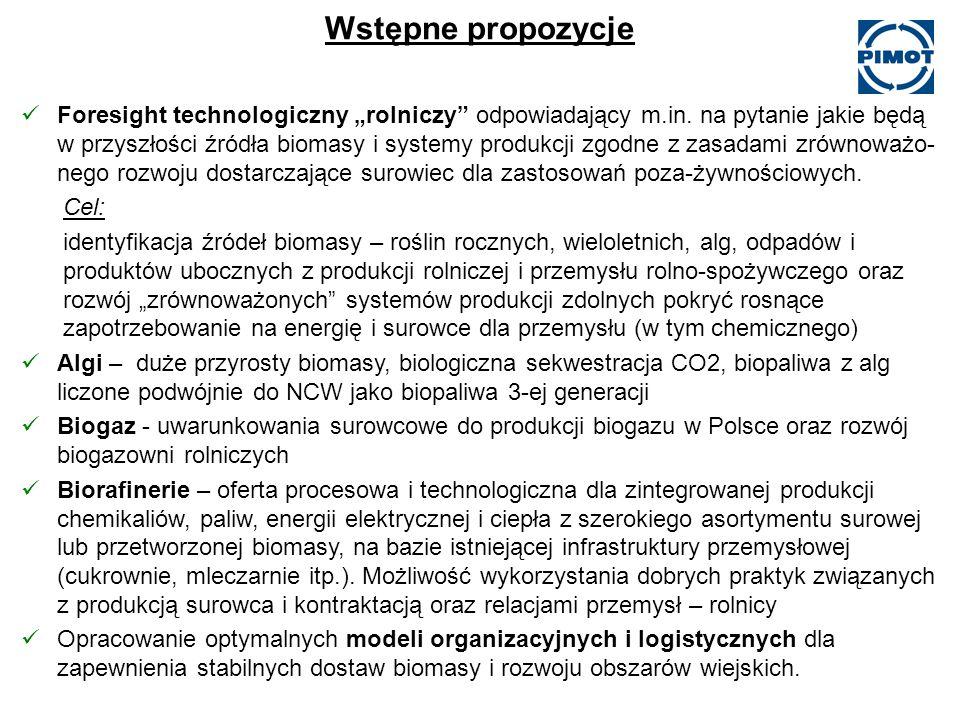 Wstępne propozycje Foresight technologiczny rolniczy odpowiadający m.in.