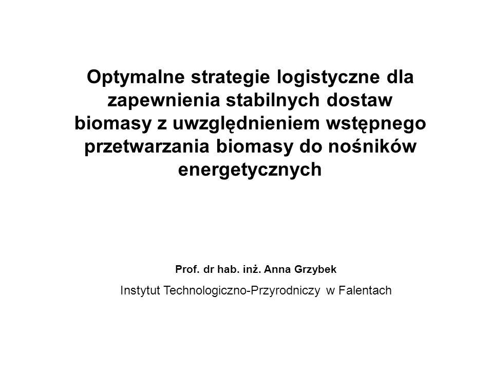 Optymalne strategie logistyczne dla zapewnienia stabilnych dostaw biomasy z uwzględnieniem wstępnego przetwarzania biomasy do nośników energetycznych Prof.