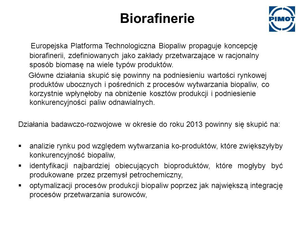 Biorafinerie Europejska Platforma Technologiczna Biopaliw propaguje koncepcję biorafinerii, zdefiniowanych jako zakłady przetwarzające w racjonalny sposób biomasę na wiele typów produktów.