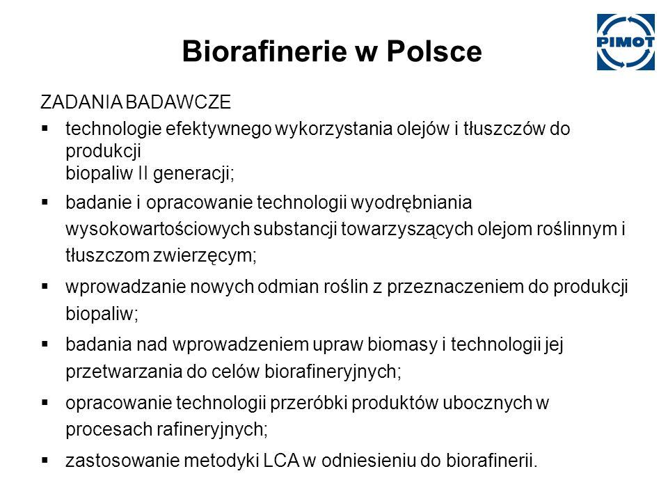 Biorafinerie w Polsce ZADANIA BADAWCZE technologie efektywnego wykorzystania olejów i tłuszczów do produkcji biopaliw II generacji; badanie i opracowanie technologii wyodrębniania wysokowartościowych substancji towarzyszących olejom roślinnym i tłuszczom zwierzęcym; wprowadzanie nowych odmian roślin z przeznaczeniem do produkcji biopaliw; badania nad wprowadzeniem upraw biomasy i technologii jej przetwarzania do celów biorafineryjnych; opracowanie technologii przeróbki produktów ubocznych w procesach rafineryjnych; zastosowanie metodyki LCA w odniesieniu do biorafinerii.