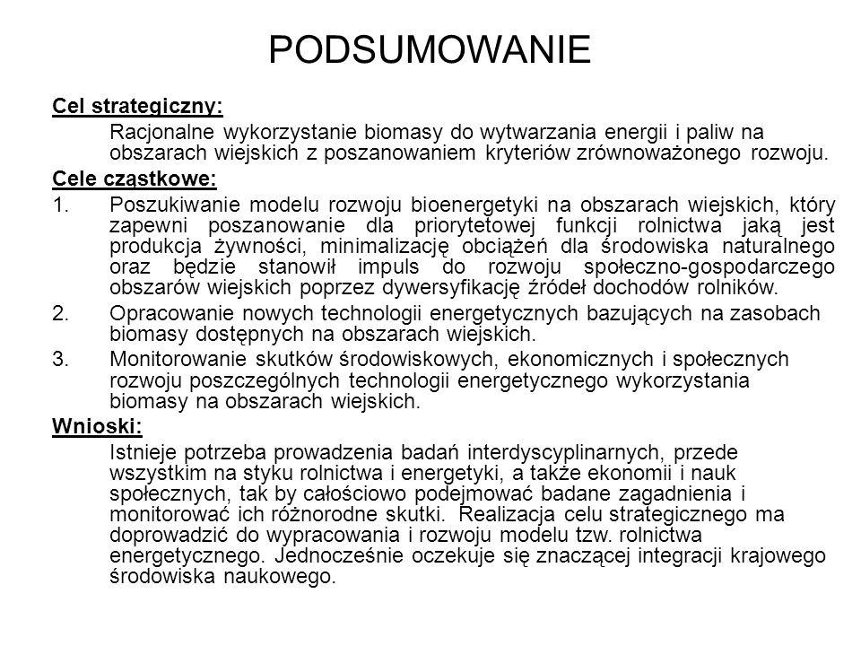 PODSUMOWANIE Cel strategiczny: Racjonalne wykorzystanie biomasy do wytwarzania energii i paliw na obszarach wiejskich z poszanowaniem kryteriów zrównoważonego rozwoju.