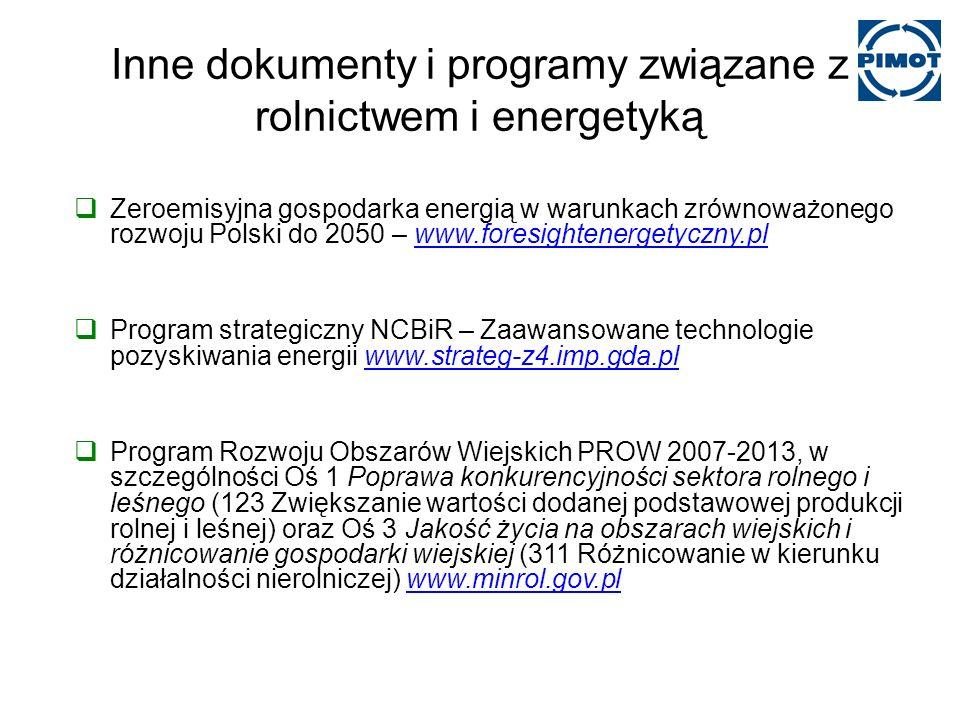 Inne dokumenty i programy związane z rolnictwem i energetyką Zeroemisyjna gospodarka energią w warunkach zrównoważonego rozwoju Polski do 2050 – www.foresightenergetyczny.plwww.foresightenergetyczny.pl Program strategiczny NCBiR – Zaawansowane technologie pozyskiwania energii www.strateg-z4.imp.gda.plwww.strateg-z4.imp.gda.pl Program Rozwoju Obszarów Wiejskich PROW 2007-2013, w szczególności Oś 1 Poprawa konkurencyjności sektora rolnego i leśnego (123 Zwiększanie wartości dodanej podstawowej produkcji rolnej i leśnej) oraz Oś 3 Jakość życia na obszarach wiejskich i różnicowanie gospodarki wiejskiej (311 Różnicowanie w kierunku działalności nierolniczej) www.minrol.gov.plwww.minrol.gov.pl