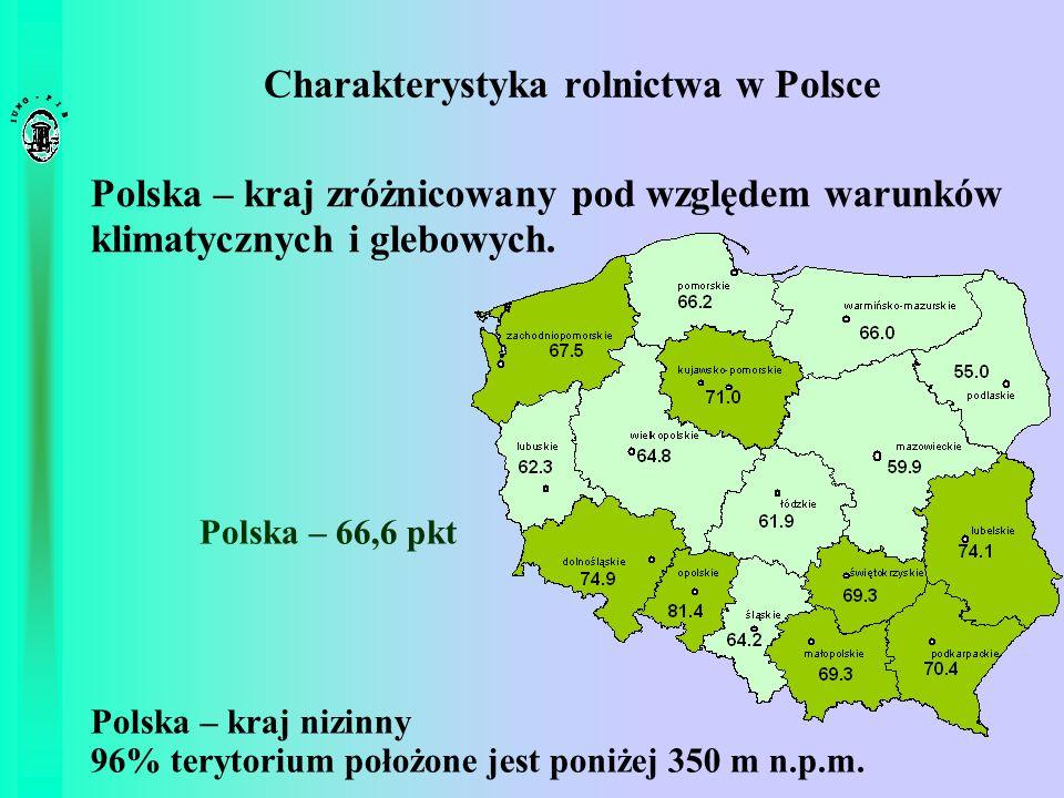 Charakterystyka rolnictwa w Polsce Polska – kraj zróżnicowany pod względem warunków klimatycznych i glebowych. Polska – kraj nizinny 96% terytorium po
