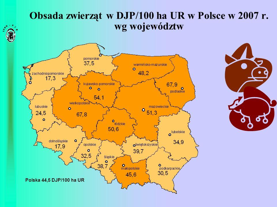 Obsada zwierząt w DJP/100 ha UR w Polsce w 2007 r. wg województw Polska 44,5 DJP/100 ha UR