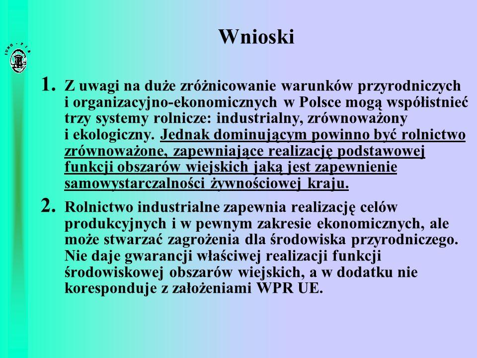Wnioski 1. Z uwagi na duże zróżnicowanie warunków przyrodniczych i organizacyjno-ekonomicznych w Polsce mogą współistnieć trzy systemy rolnicze: indus