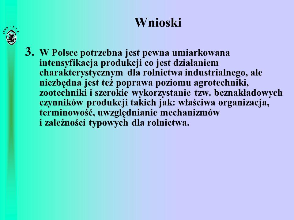 Wnioski 3. W Polsce potrzebna jest pewna umiarkowana intensyfikacja produkcji co jest działaniem charakterystycznym dla rolnictwa industrialnego, ale