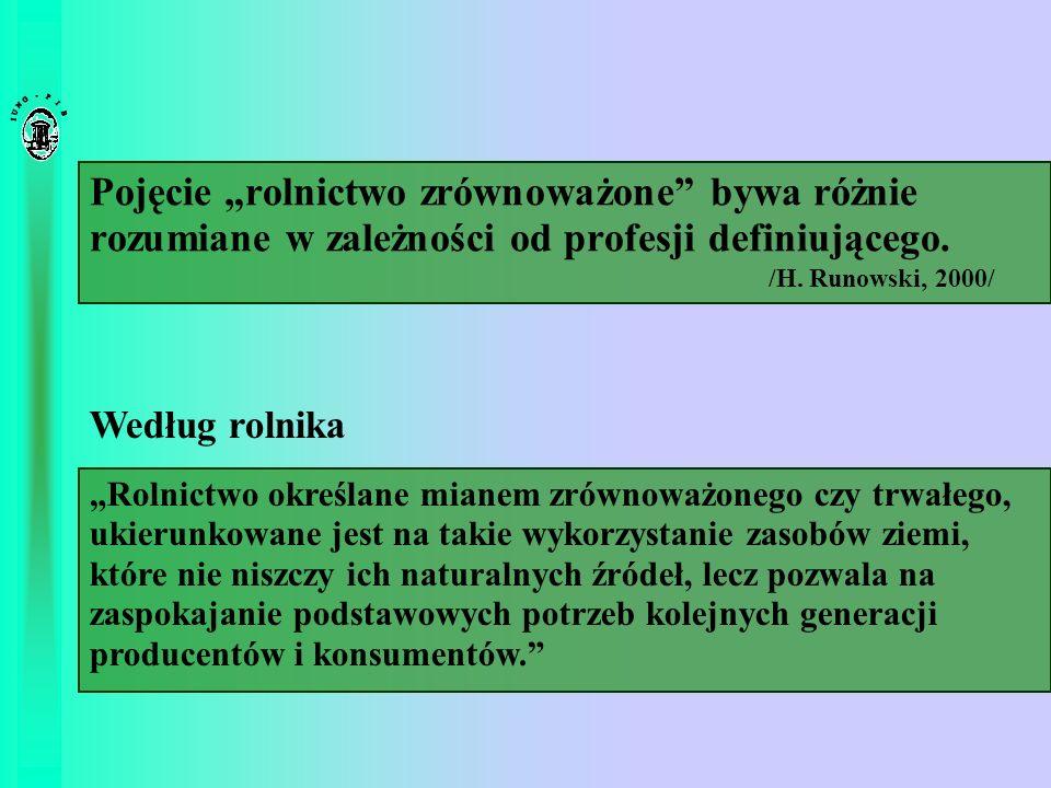 Pojęcie rolnictwo zrównoważone bywa różnie rozumiane w zależności od profesji definiującego. /H. Runowski, 2000/ Rolnictwo określane mianem zrównoważo