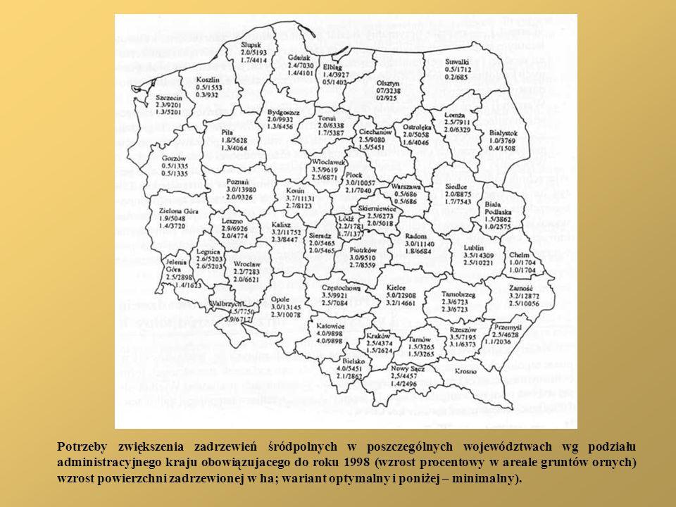Potrzeby zwiększenia zadrzewień śródpolnych w poszczególnych województwach wg podziału administracyjnego kraju obowiązujacego do roku 1998 (wzrost pro