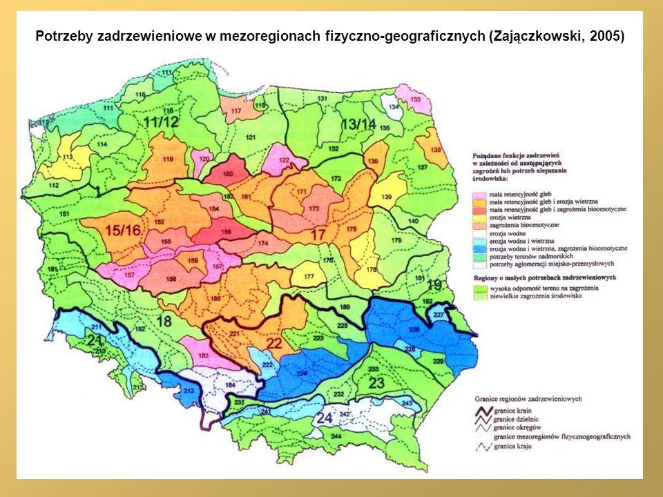 Potrzeby zadrzewieniowe w mezoregionach fizyczno-geograficznych (Zajączkowski, 2005)