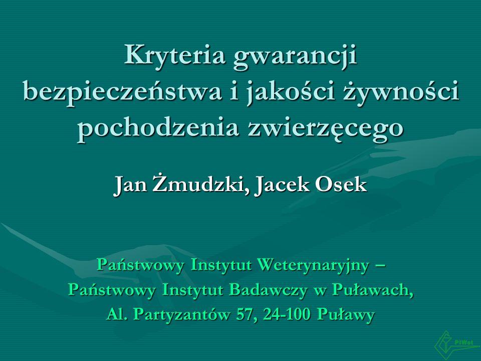 Kryteria gwarancji bezpieczeństwa i jakości żywności pochodzenia zwierzęcego Państwowy Instytut Weterynaryjny – Państwowy Instytut Badawczy w Puławach