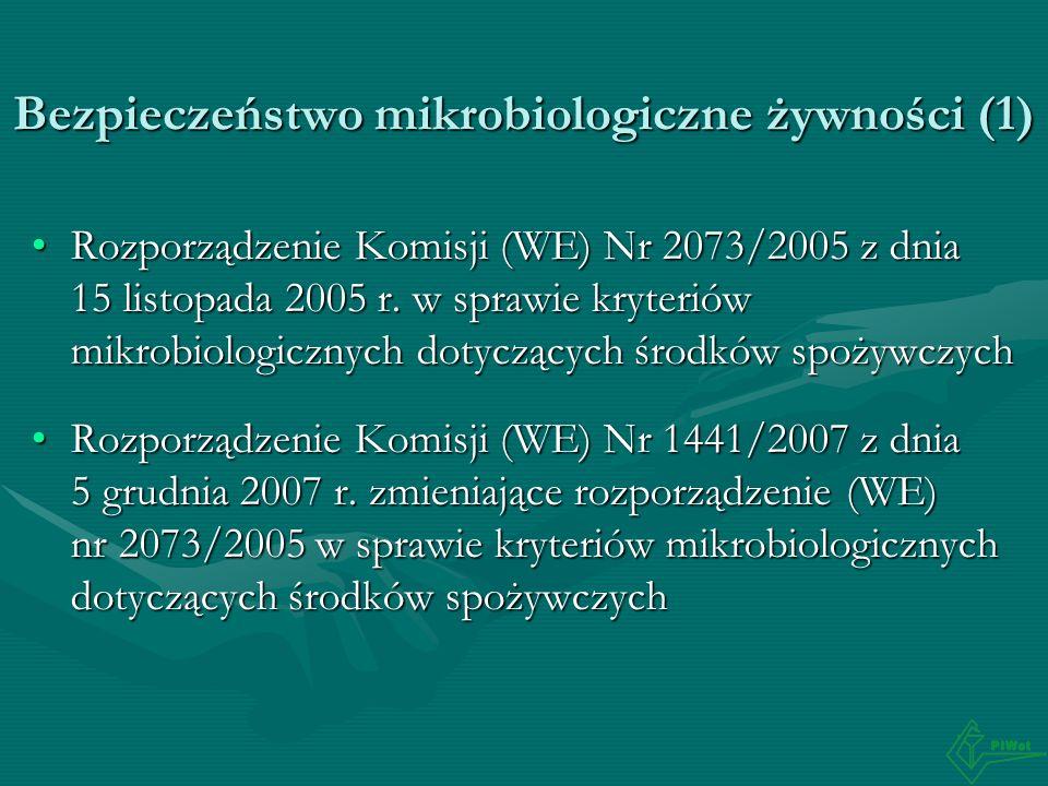 Bezpieczeństwo mikrobiologiczne żywności (1) Rozporządzenie Komisji (WE) Nr 2073/2005 z dnia 15 listopada 2005 r. w sprawie kryteriów mikrobiologiczny
