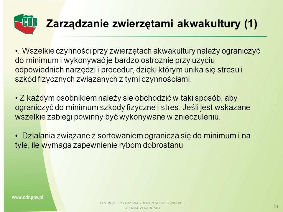 CENTRUM DORADZTWA ROLNICZEGO W BRWINOWIE ODDZIAŁ W RADOMIU 14 Zarządzanie zwierzętami akwakultury (1).