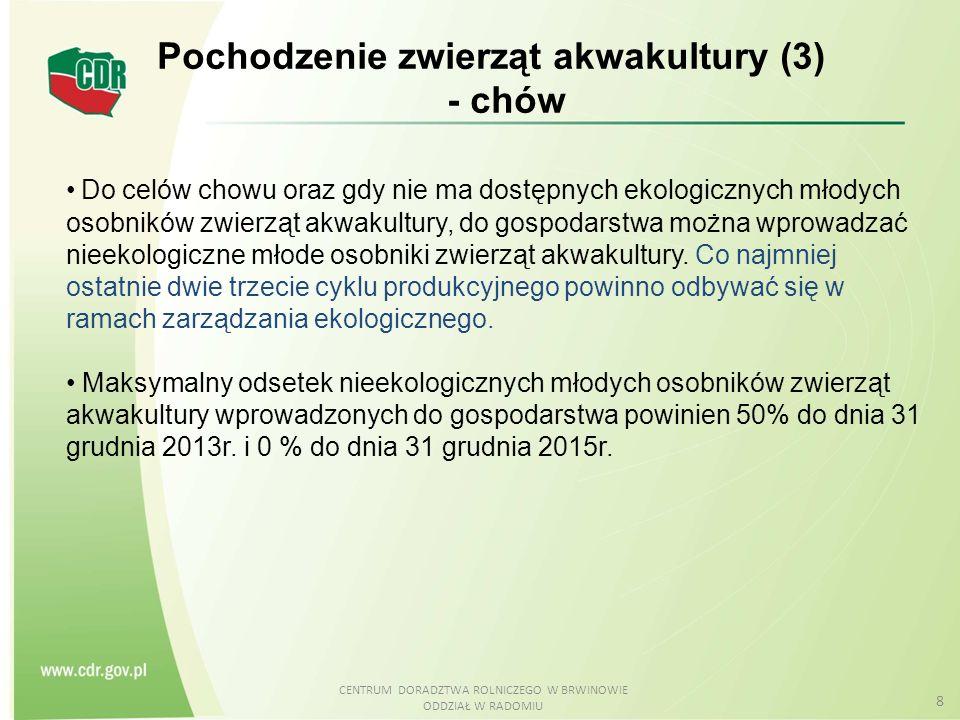 CENTRUM DORADZTWA ROLNICZEGO W BRWINOWIE ODDZIAŁ W RADOMIU 19 Zapobieganie chorobom, leczenie (1) Jeżeli występują problemy zdrowotne, pomimo stosowania środków zapobiegawczych, to aby zapewnić zdrowie zwierząt można stosować leczenie weterynaryjne zgodnie z następującą hierarchią: a)substancje roślinne, zwierzęce lub mineralne w roztworze homeopatycznym; b) rośliny i wyciągi z nich bez działania znieczulającego, c) substancje takie jak: pierwiastki śladowe, metale, naturalne immunostymulanty lub dozwolone probiotyki.