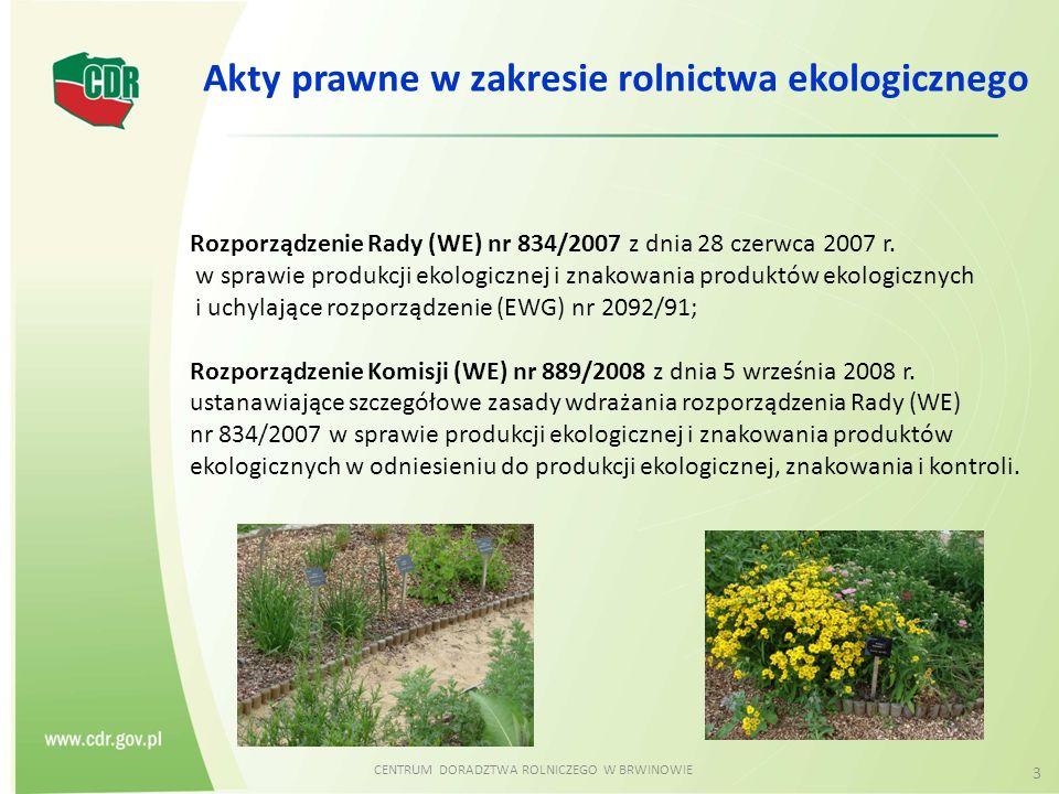 CENTRUM DORADZTWA ROLNICZEGO W BRWINOWIE 3 Akty prawne w zakresie rolnictwa ekologicznego Rozporządzenie Rady (WE) nr 834/2007 z dnia 28 czerwca 2007