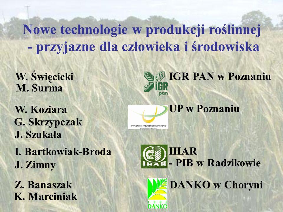 Nowe technologie w produkcji roślinnej - przyjazne dla człowieka i środowiska W. Święcicki IGR PAN w Poznaniu M. Surma W. Koziara UP w Poznaniu G. Skr