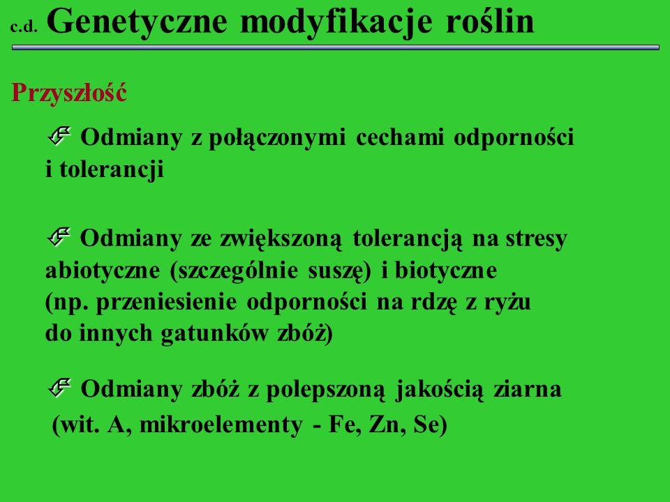 Odmiany z połączonymi cechami odporności i tolerancji Odmiany ze zwiększoną tolerancją na stresy abiotyczne (szczególnie suszę) i biotyczne (np. przen