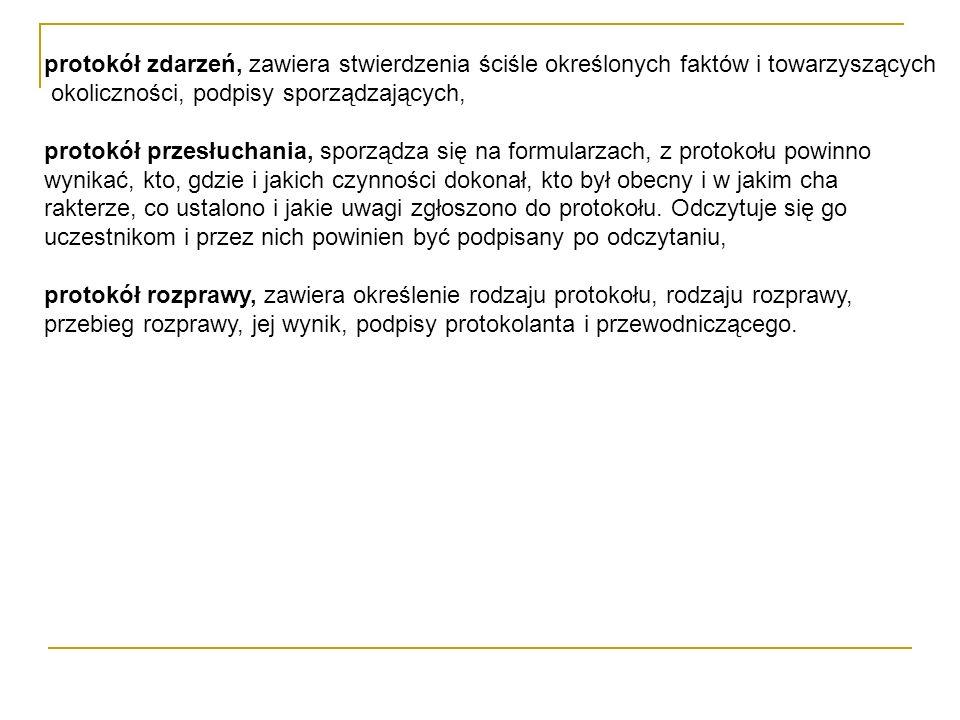 Tabela 2. Części składowe protokołu