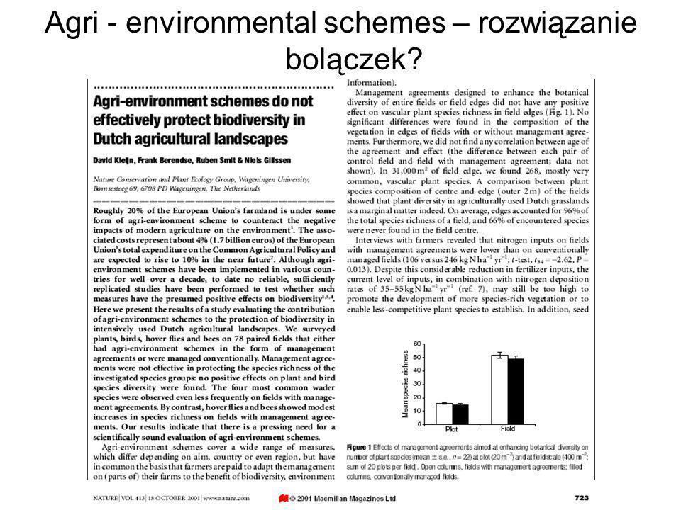 Agri - environmental schemes – rozwiązanie bolączek?