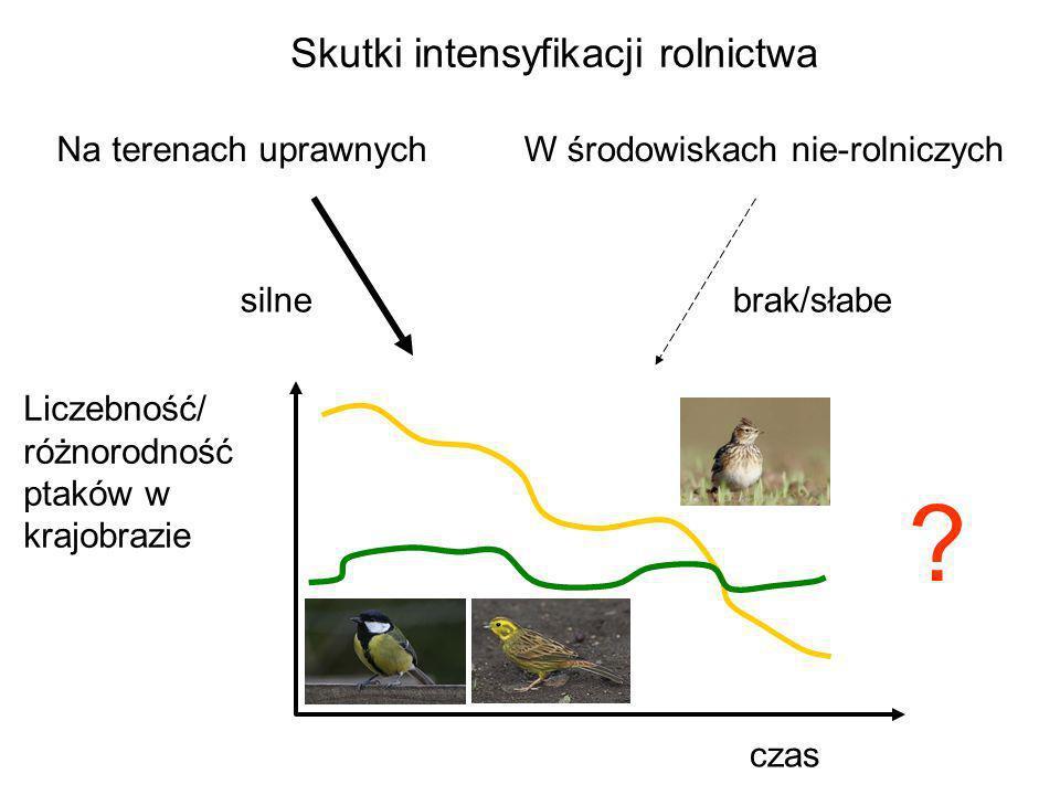 Na terenach uprawnychW środowiskach nie-rolniczych czas brak/słabe ? Liczebność/ różnorodność ptaków w krajobrazie silne Skutki intensyfikacji rolnict