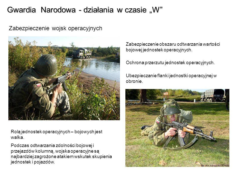 Gwardia Narodowa - działania w czasie W Zabezpieczenie wojsk operacyjnych Zabezpieczenie obszaru odtwarzania wartości bojowej jednostek operacyjnych.