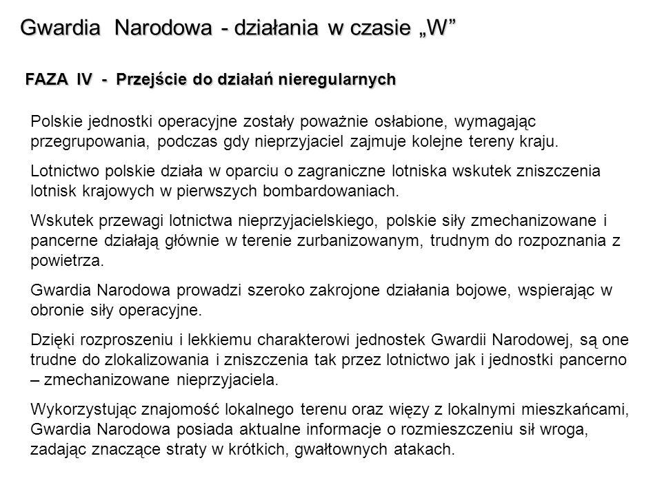 Gwardia Narodowa - działania w czasie W FAZA IV - Przejście do działań nieregularnych Polskie jednostki operacyjne zostały poważnie osłabione, wymagając przegrupowania, podczas gdy nieprzyjaciel zajmuje kolejne tereny kraju.