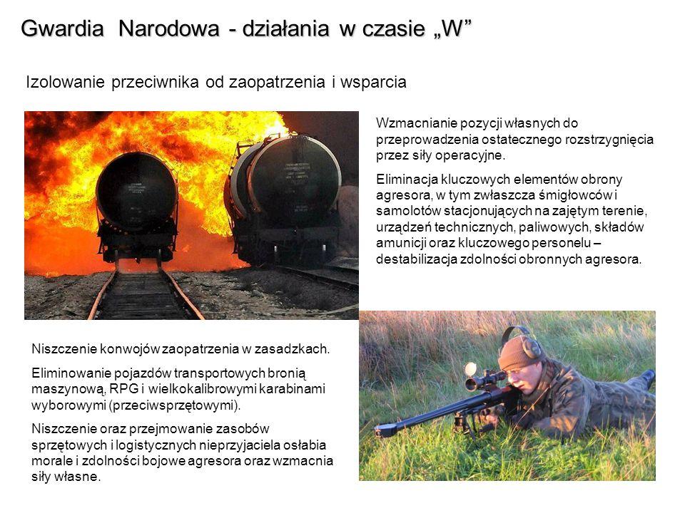 Gwardia Narodowa - działania w czasie W Izolowanie przeciwnika od zaopatrzenia i wsparcia Wzmacnianie pozycji własnych do przeprowadzenia ostatecznego rozstrzygnięcia przez siły operacyjne.