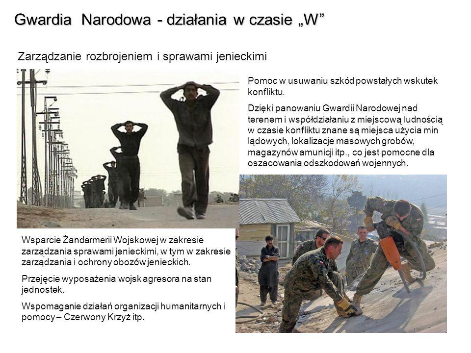 Gwardia Narodowa - działania w czasie W Zarządzanie rozbrojeniem i sprawami jenieckimi Wsparcie Żandarmerii Wojskowej w zakresie zarządzania sprawami jenieckimi, w tym w zakresie zarządzania i ochrony obozów jenieckich.