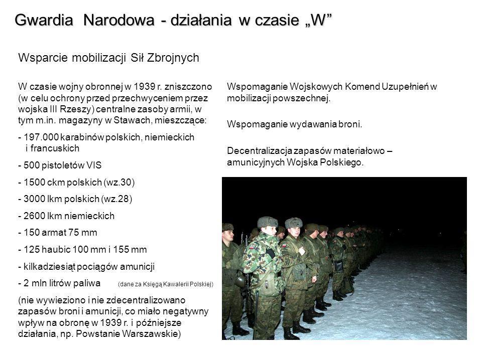 Gwardia Narodowa - działania w czasie W Wsparcie mobilizacji Sił Zbrojnych Wspomaganie Wojskowych Komend Uzupełnień w mobilizacji powszechnej.
