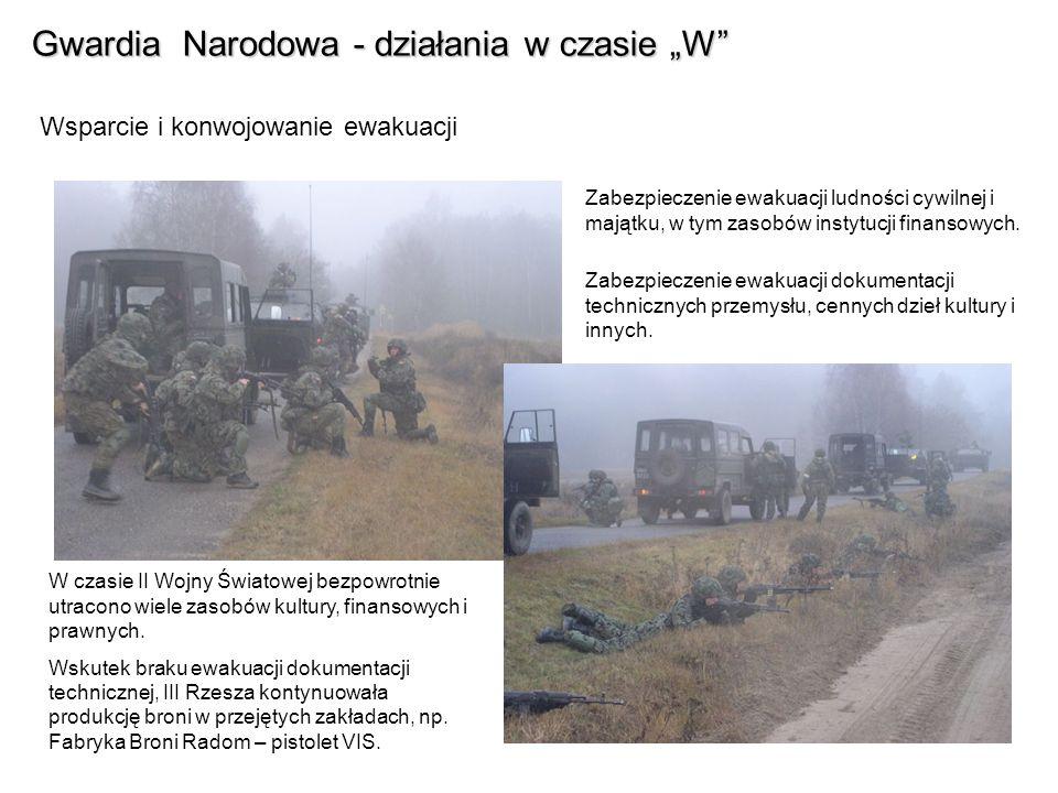 Gwardia Narodowa - działania w czasie W Wsparcie i konwojowanie ewakuacji Zabezpieczenie ewakuacji ludności cywilnej i majątku, w tym zasobów instytucji finansowych.