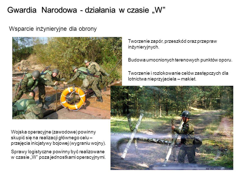 Gwardia Narodowa - działania w czasie W Wsparcie inżynieryjne dla obrony Tworzenie zapór, przeszkód oraz przepraw inżynieryjnych.