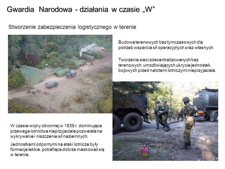 Gwardia Narodowa - działania w czasie W Stworzenie zabezpieczenia logistycznego w terenie Budowa terenowych baz tymczasowych dla potrzeb wsparcia sił operacyjnych oraz własnych.