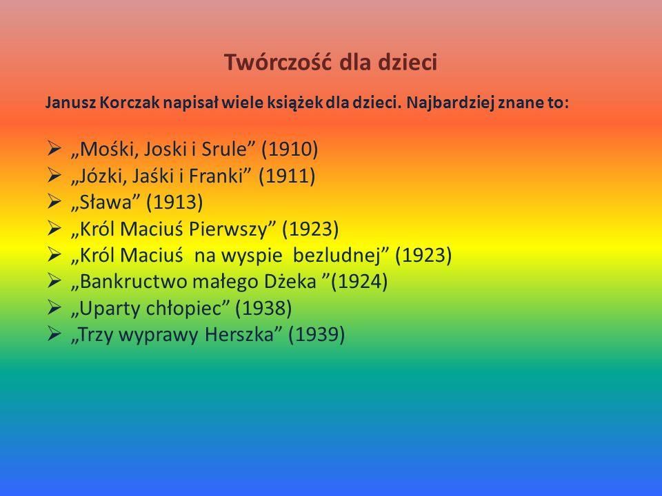 Twórczość dla dzieci Janusz Korczak napisał wiele książek dla dzieci. Najbardziej znane to: Mośki, Joski i Srule (1910) Józki, Jaśki i Franki (1911) S
