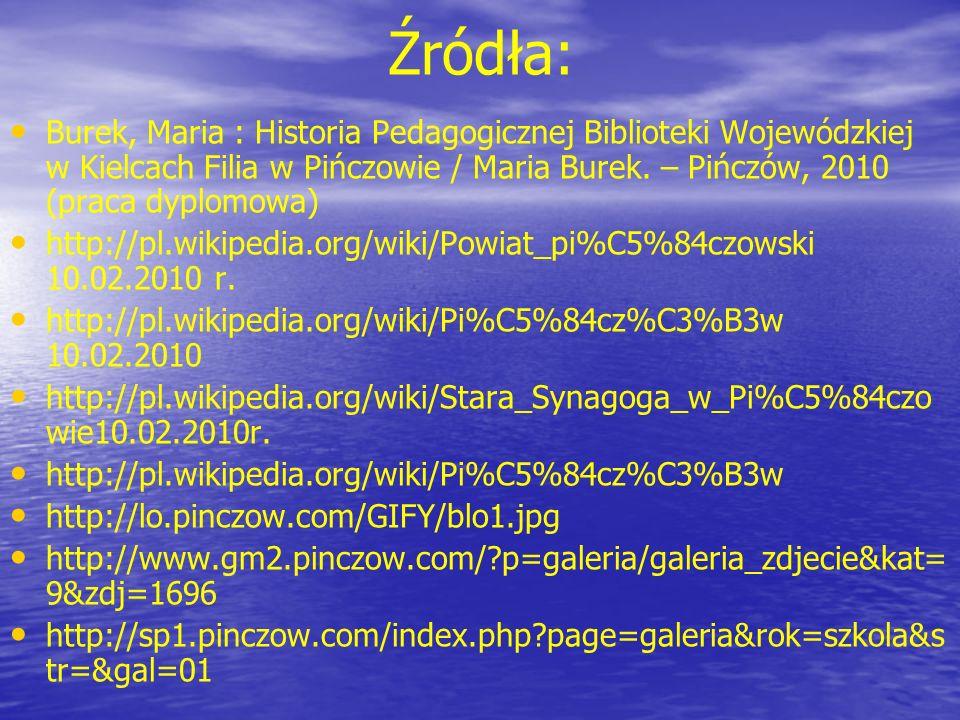 Źródła: Burek, Maria : Historia Pedagogicznej Biblioteki Wojewódzkiej w Kielcach Filia w Pińczowie / Maria Burek. – Pińczów, 2010 (praca dyplomowa) ht