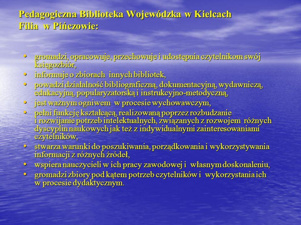 Źródła: Burek, Maria : Historia Pedagogicznej Biblioteki Wojewódzkiej w Kielcach Filia w Pińczowie / Maria Burek.