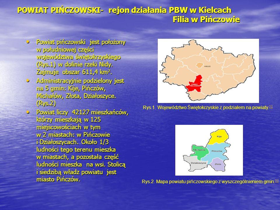 POWIAT PIŃCZOWSKI- rejon działania PBW w Kielcach Filia w Pińczowie Powiat pińczowski jest położony w południowej części województwa świętokrzyskiego
