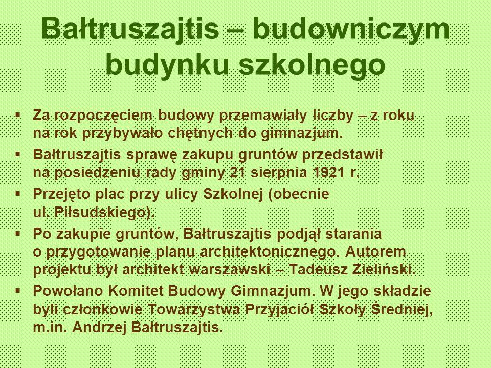 Bałtruszajtis – budowniczym budynku szkolnego Za rozpoczęciem budowy przemawiały liczby – z roku na rok przybywało chętnych do gimnazjum.